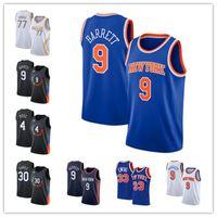 Erkekler Derrick Rose NewYorkknicks 33 Patrick Ewing 30 Julius Randle 9 RJ Barrett 77 Doncic 2021 Siyah Şehir Basketbol Edition Jersey-54