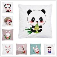 Cushion Decorative Pillow Cute Panda Cartoon Pattern Soft Short Plush Cushion Cover Case For Home Sofa Car Decor Pillowcase 45X45 Cm