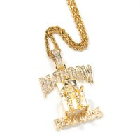 Fashion Hip Hop Rapper Style CZ DEATHROW Pendant Stainless Steel Chain Necklace