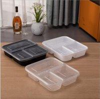 Dinnerware de plástico reutilizável Bento caixa de refeição de refeição de refeição preparar almoço caixas de almoço 3 recipientes de compartimentos Home lunchbox Seaway GWF9430