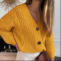 V Neck Cardigan Mujer Women Sweater Autumn Winter Long Sleeve Knitted Coat Jackets Knitwear sweter
