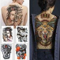 Mujer plena etiqueta temporal s serpiente tigre dragón tinta color cuerpo cuerpo grande impermeable jesús espalda grande tatuaje