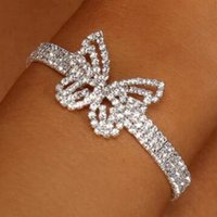 Double Row Diamond Butterfly Bracelet All-Matching Hollow Insect Diamond Jewelry