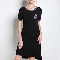 Women's Swimwear Large size fat mm200kg embroidered casual dress medium length T-shirt skirt slim straight skirt in summer