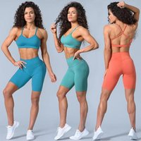 Yoga Outfit 2Pcs Shorts Set Gym Sport Women Bra Sports Short Suit Pants Fitness Crop Top Active Tracksuit Running