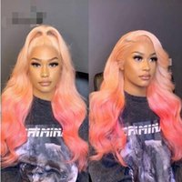 Ishow Brazilian 13x4 Transparent Lace Front Wig Body Wave Yellow Green Human Hair Wigs Brown Ginger Blonde 613 Blue Purple Ombre Color for Women 8-28 inch Peruvian