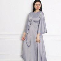 Morbido abito da donna satinato maxi per grigio Dubai Qualità araba Kaftan Abayas Fashion Muslim Self Belted Robe caduta