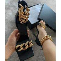 21SS 최신 럭셔리 정품 가죽 체인 8.5cm 높은 굽 샌들 검투사 여성 미세 힐 최고 품질의 패션 섹시한 파티 여자 신발 슬리퍼 큰 크기 35-41 상자