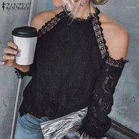 Zanzea 2020 النساء الدانتيل الكروشيه بلوزة الخريف قبالة الكتف طويلة الأكمام قميص الصلبة الجوف خارج قمم عارضة العمل blusas الأنثوية