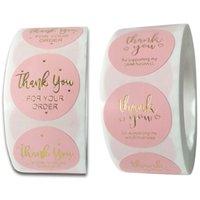 KIMTER Merci autocollants Merci d'avoir soutenu mon autocollant de petite entreprise Pink Paper Labels de décoration de l'emballage B234Z