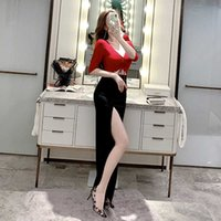 Gece Kulübü kadın Seksi Dikkatli Makine Düşük Göğüs Derin V Bölünmüş Elbise Ayak Banyo Kulübü KTV Prenses Abiye Elbise