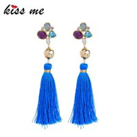Dangle & Chandelier KISS ME Women Tassel Earrings Bohemian Blue Cotton Thread Fringe Long Drop Ethnic Jewelry