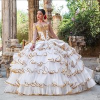 Charro Mexican Quinceanera Prom Dresses 2021 Off Shoulder long sleeve gold ruffles edge sweety 15 Misquinceanos Party Gowns