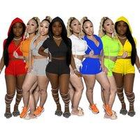 هودي رياضية النساء sleatsuits هوديس + طماق قصيرة الأكمام ملابس رياضية 8 ألوان قطعتين ملابس الصيف ملابس الركض بدلة بلون رياضية 4696