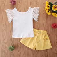 Clothing Sets Girls Outfits Baby Clothes Suits Kids Summer Cotton Short Sleeve Lace T-shirts Pants Shorts 2Pcs 2-6Y B5407