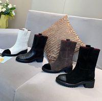 Siyah ve Beyaz Tıknaz Platform Çizmeler Deri Dantel-Up Ayakkabı Savaş Boot Zincirleri Toka Düşük Topuk Martin Patik Ayak Bileği Lüks Tasarımcılar Markalar Ayakkabı Fabrika Ayakkabı