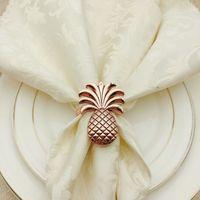 12 teile / los Ananas Metall Plattieren Serviette Ringständer Hochzeit Holiday Party Tischdekoration