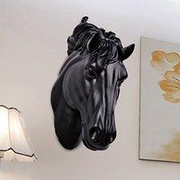 Cavalli Head Wall Hangin 3D Animale Decorazioni Art Scultura Figurines Resin Craft Home Soggiorno Decorazioni murali