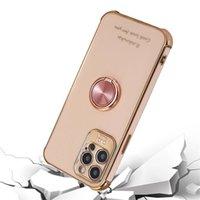 ل iphone11pro حالة الهاتف الخليوي الفاخرة تصفيح سيليكون الدائري المغناطيسي غطاء فون 12 ميني برو ماكس مع حامل