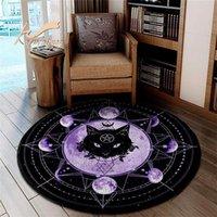 Black Cat Magic s Animal Rescue Round Circle Custom Rug Designed Personalized Carpet Pet Natural Lover 5 Size