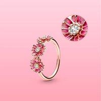 925 فضة 18 كيلو خواتم الزهور مربع الأصلي ل باندورا النساء هدية الزفاف مجموعات