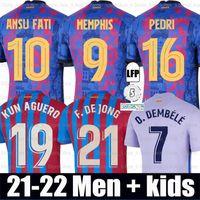 Camisas de futebol MEMPHIS Barcelona BARCA FC 21 22 PEDRI MEMPHIS F.DE JONG LUUK ANSU FATI KUN AGUERO O. DEMBELE Eric kit camisa homem crianças conjuntos meias