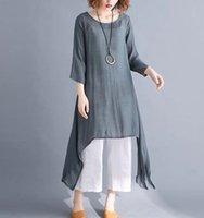 Spring and Summer Solid Linen Women's Dress Loose Long Sleeve Cotton Linen Skirtd4kr