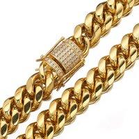 6-18 ملليمتر واسعة الفولاذ المقاوم للصدأ كوبية سلاسل ميامي القلائد تشيكوسلوفاكيا الزركون مربع قفل كبير سلسلة الذهب الثقيلة الهيب هوب المجوهرات 436 Q2