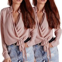 Womens Long Sleeve Chiffon Wrap Blouse Tie Knot Front Casual Loose T-Shirt Sexy Plunging Deep V-Neck Lapel Collar Tops Women's Blouses & Shi