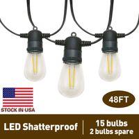 48ft LED Outdoor String Lights met 17 * 2W Vintage Edison Shatterproof Lampen (2 Spare), Waterdichte terrasverlichting voor tuin Backyard Bistro Wedding, ETL vermeld