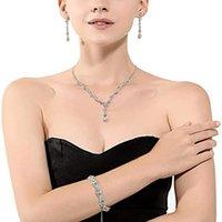 Earrings & Necklace 3pcs Of Crystal Rhinestone For Women Sparkle Blue Crown Bracelet Teardrop Earring Jewelry Sets 21913