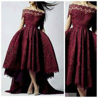 2021 Burgundy Lace Ball Gown Prom Dresses Dubai Saudi Arabia Off-shoulder High Front Low Back occasion dresses Evening Dress Gowns