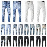 2021 Herren Designer Jeans Distressed Ripping Biker Slim Fit Motorrad Biker Denim Für Männer S Mode Mans Black Hose Hip Hop Homm Hommes