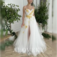 Party Dresses Spaghetti Straps Night For Women Gown White Tulle Side Split Women's Evening Dress 2021 Special Occasion