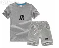 Summer Clothing Sets Boys T-Shirt White Letter Printing Designer Kids Clothes Girl Sports Two-piece Round Neck Short sleeve Pants 2-7 Years