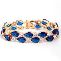Collegamento, catena zlxgirl gioielli blu verde acqua verde goccia cubic zircone braccialetto di donne Bridal di alta qualità Cooper Gold Bangle