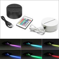 LED Lamba Baz RGB Işıkları Dokunmatik Anahtarı Modern Siyah USB Kablosu Uzaktan Kumanda Gece Lambası Akrilik Lambalar Monte Bazlar Toptan