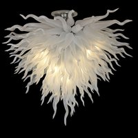 Lamps Hand Blown Glass Chandeliers Modern Ceiling Lighting Hanging LED 110-240V Pendant Lights White color 32 Inch Chandelier for Bedroom Art Deco 28 by 24 Inches