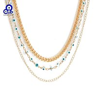 Pendant Necklaces Lucky Eye Multi Layer Turkish Evil Necklace Gold Color Long Cuban Link Chain For Women Girls Fashion Jewelry BE237