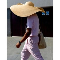 Moda grande Sombrero Playa Anti-UV Protección Casera de paja plegable Visera enorme D90624 Sombreros de ala ancha