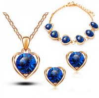 Earrings & Necklace Jewelry Sets Fashion Accessories Heart Necklaces Bracelet Austrian Crystal For Woman Girls Gift Set
