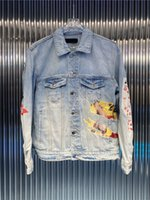 망 디자이너 재킷 따뜻한 캐주얼 남자 데님 도매 클래식 낙서 재킷 고품질 거리 코트 판매 고급 힙합 스트리트웨어 유명한 브랜드 유로 버전 m-XL