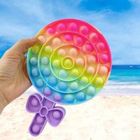 Rainbow Lollipop Shaped Fidget Toy Soft Sensory Gift Reusable Squeeze Gift Stress Relief Parent-child Interactive Educational Board Game