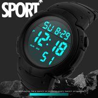 Смотреть водонепроницаемый мужской мальчик ЖК-дисплей цифровой секундомер дата резиновый спортивный запястье монтер-браслет наливает Homme для мужчин наручные часы