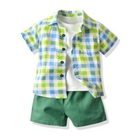 Boys Clothing Sets Boy Suit Baby Suits Kids Wear Summer Cotton Short Sleeve Plaid Shirts T-shirts Shorts 3Pcs Casual 1-6Y B5373