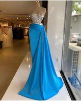 우아한 파란색 스팽글 인어 이브닝 드레스 크리스탈 구슬 베드 아가씨 공식적인 댄스 파티 드레스 사용자 정의 만든 플러스 크기 미인 착용 파티 드레스