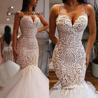 Pearls Beaded Small Straps Europe Wedding Dress Beautiful Lace Embroidery Appliques Bridal Dresses