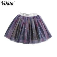 Vikita Bebê Crianças Meninas Princesa Tutu Saias Estrelas Glitter Lantejoulas Festa Dança Ballet Saias Crianças Casual Vestuário Tule Skirt 210331