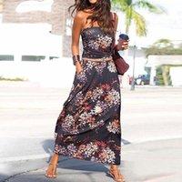 Women Sexy Bandeau Holiday Off Shoulder Maxi Dress fashion Ladies summer Beach Print Wrap Chest Long Dress