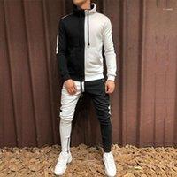 Mens Tracksuit Hoodie Set Two Pieces Autumn Winter Men's Sports Suit Half Black Half White Pant Sweatshirt Male Sweatsuit Outfit11